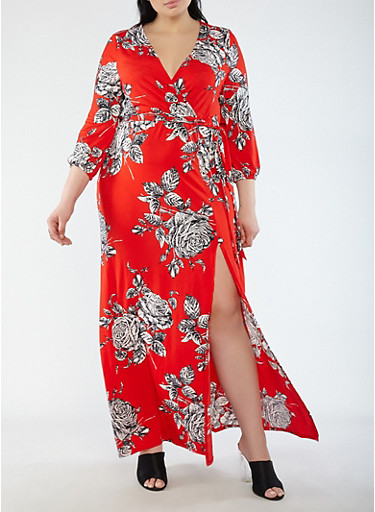 Plus Size Floral Faux Wrap Maxi Dress with Sleeves,RED,large