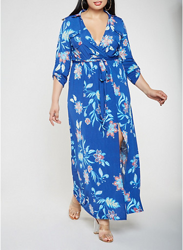 Plus Size Printed Faux Wrap Maxi Dress,NAVY,large