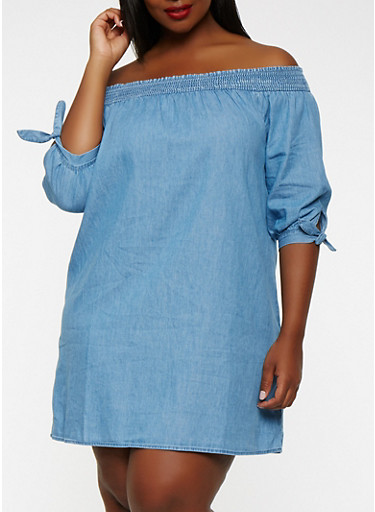 Plus Size Off the Shoulder Chambray Dress,MEDIUM WASH,large