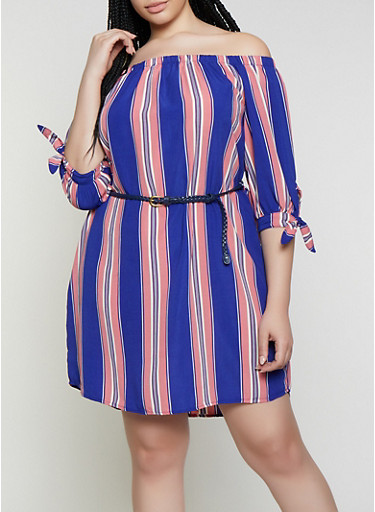 d2a21cc6fabb Plus Size Striped Off the Shoulder Dress with Braided Belt - Rainbow