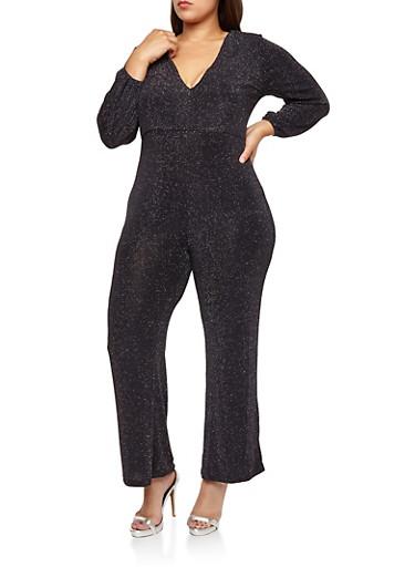 Plus Size Glitter Knit Wide Leg Jumpsuit,BLACK,large