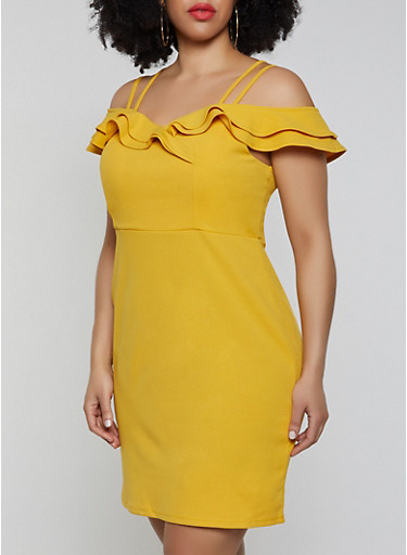 Plus Size Ruffle Off the Shoulder Dress,YELLOW,large