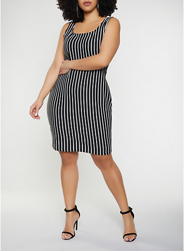 Plus Size Vertical Stripe Tank Dress