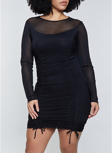 Plus Size Ruched Mesh Long Sleeve Bodycon Dress,BLACK,large