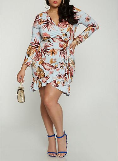 Plus Size Floral Faux Wrap Long Sleeve Dress,BABY BLUE,large