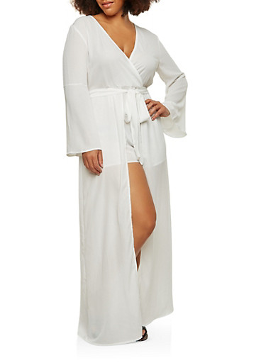 Plus Size Bell Sleeve Maxi Romper,WHITE,large