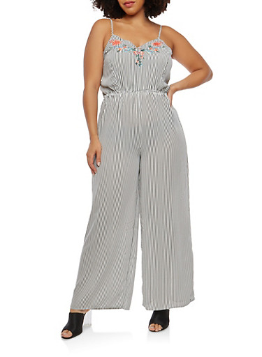 Plus Size Embroidered Striped Palazzo Jumpsuit,BLACK/WHITE,large