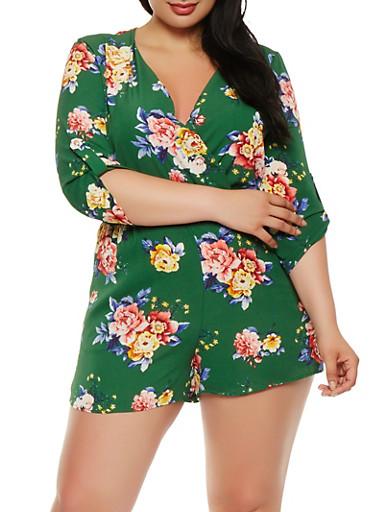 Plus Size Floral Faux Wrap Romper,GREEN,large
