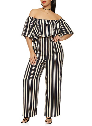 Plus Size Striped Palazzo Jumpsuit,NAVY,large