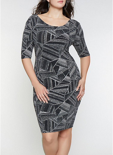 Plus Size Glitter Knit Printed Bodycon Dress,SILVER,large