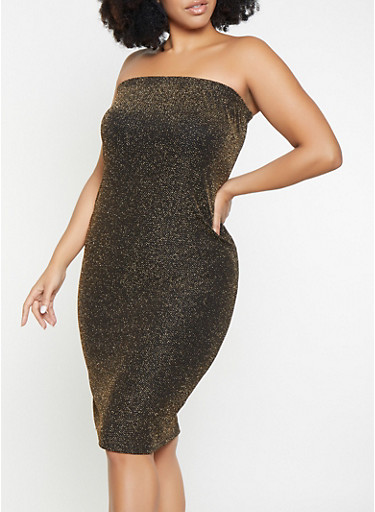 Plus Size Shimmer Knit Tube Dress,GOLD,large