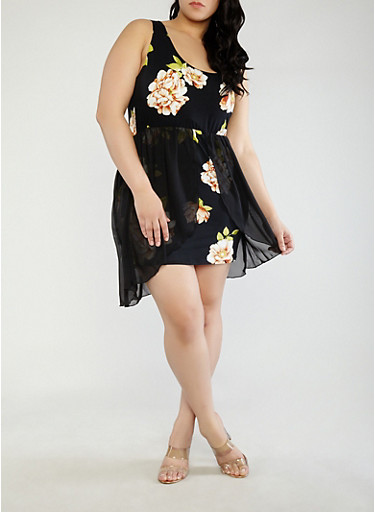 Plus Size Printed Tank Dress with Chiffon Overlay,BLACK,large