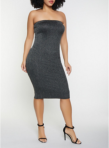 Plus Size Shimmer Striped Tube Dress,SILVER,large