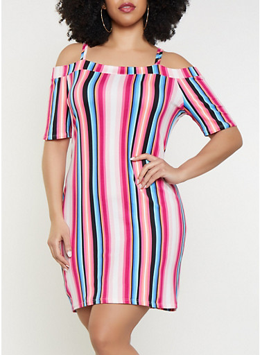 Plus Size Neon Striped Off The Shoulder Dress by Rainbow