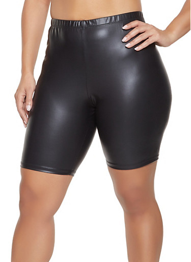 Plus Size Faux Leather Bike Shorts,BLACK,large