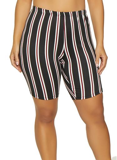 Plus Size Striped Soft Knit Bike Shorts,WINE,large