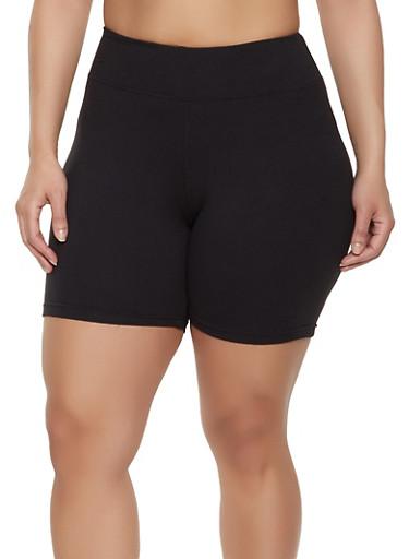 Plus Size Soft Knit Bike Shorts | 1931072291111,BLACK,large