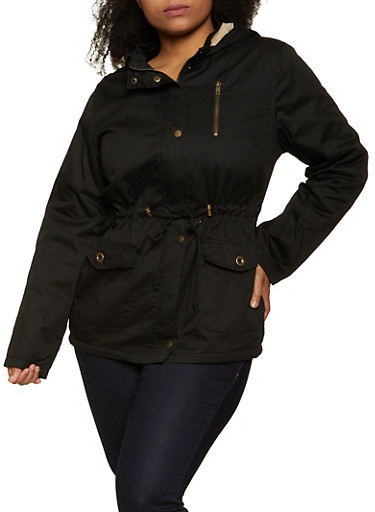 Plus Size Faux Fur Lined Hooded Anorak Jacket,BLACK,large