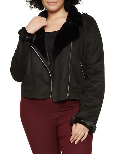 Plus Size Faux Fur Lined Moto Jacket,BLACK,large