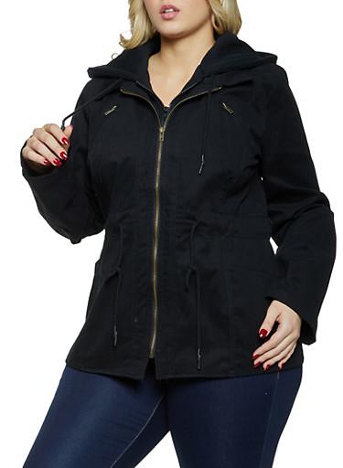 Plus Size Sweatshirt Hooded Anorak Jacket,BLACK,large