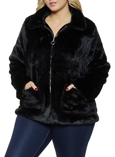 Plus Size Faux Fur Zip Front Jacket,BLACK,large
