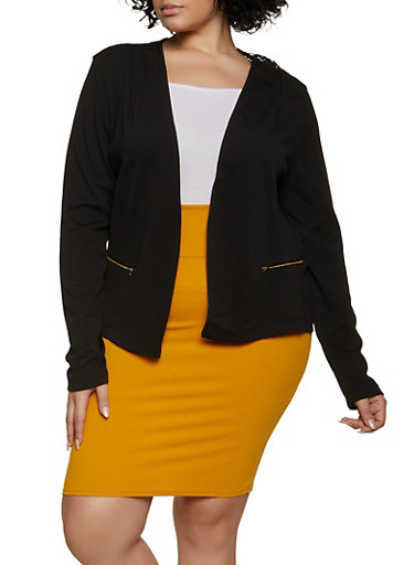 Plus Size Lace Back Blazer,BLACK,large