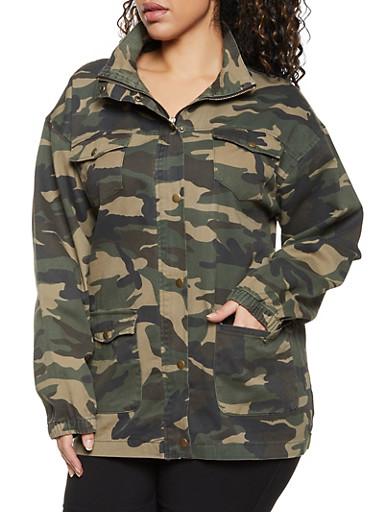 Plus Size Camo Cargo Denim Jacket,OLIVE,large