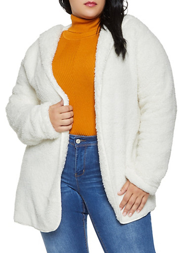 Plus Size Hooded Sherpa Open Front Jacket,IVORY,large