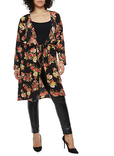 Plus Size Floral Print Duster,BLACK/RED,large