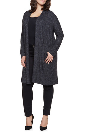 Plus Size Knit Open Front Cardigan,BLACK,large