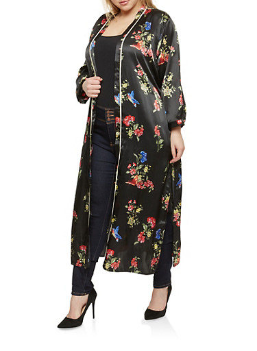 Plus Size Floral Print Satin Kimono at Rainbow Shops in Jacksonville, FL | Tuggl