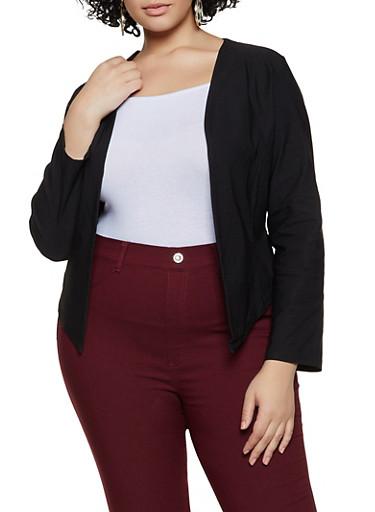 Plus Size Stretch Open Front Blazer,BLACK,large