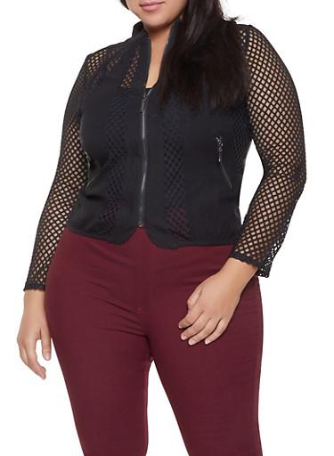 Plus Size Mesh Insert Zip Front Jacket,BLACK,large