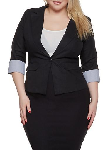 Plus Size Striped Cuff Linen Blazer,BLACK,large