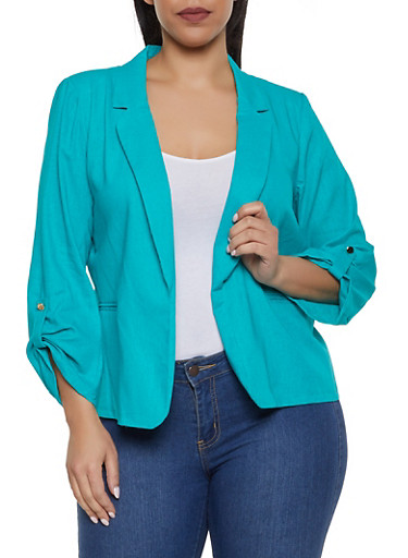 Plus Size Fixed Tabbed Sleeve Linen Blazer,JADE,large