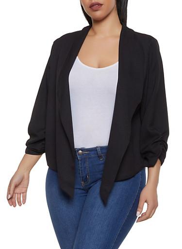 Plus Size Ruched Crepe Knit Blazer,BLACK,large