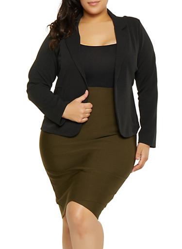 Plus Size Textured Knit Blazer,BLACK,large