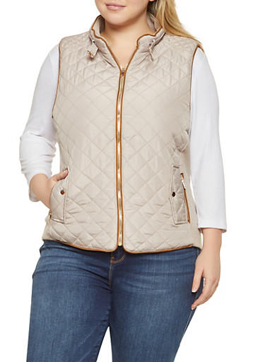 Plus Size Quilted Zip Up Vest,BEIGE,large