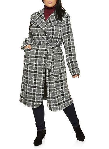 Plus Size Plaid Collared Wrap Coat,BLACK/WHITE,large