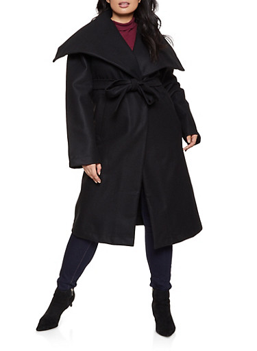 Plus Size Belted Wrap Coat,BLACK,large