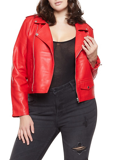 Plus Size Faux Leather Moto Jacket,RED,large