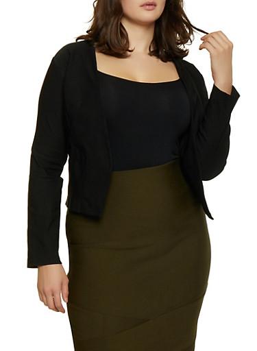 Plus Size Stretch Blazer,BLACK,large