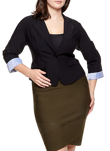 Plus Size Rolled Cuff Blazer,BLACK,large