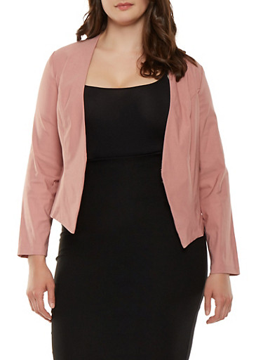 Plus Size Open Front Stretch Blazer,ROSE,large