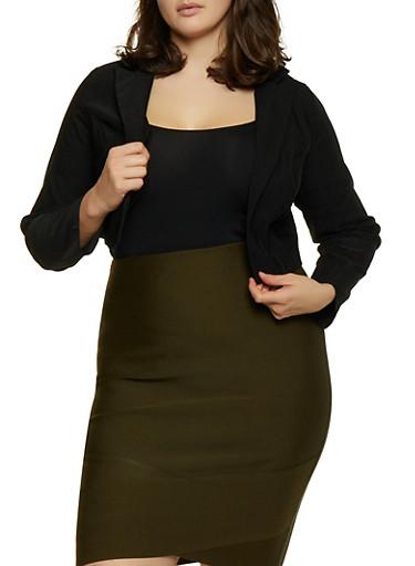 Plus Size Cropped Stretch Blazer,BLACK,large