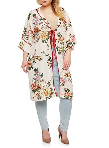 Plus Size Floral Tie Front Kimono,IVORY,large