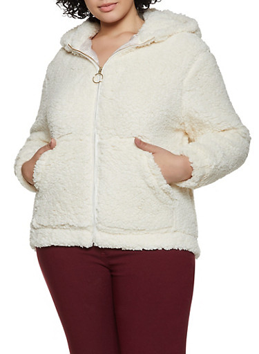 Plus Size Hooded Sherpa Jacket,IVORY,large