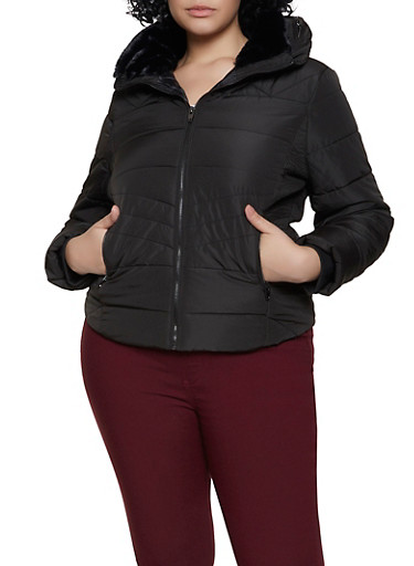 Plus Size Faux Fur Trim Hooded Puffer Jacket,BLACK,large