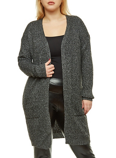 Plus Size Knit Duster,BLACK,large