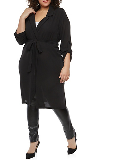 Plus Size Belted Crepe Knit Duster,BLACK,large